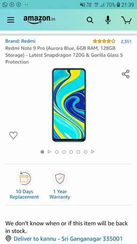 Redmi Note 9 Pro 6 GB 128 GB New Seal Pack For Sale Call Me