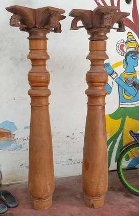 Antique teak wooden pillar