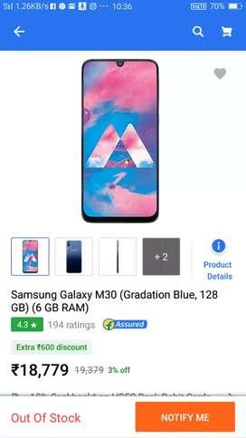 Samsung m30s 128gb and 6gb ram
