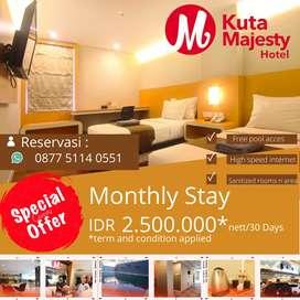 Disewakan kamar untuk bulanan @ Kuta Majesty Hotel only Rp 2.500.000