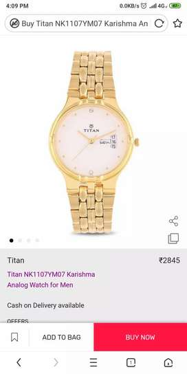 Titan gold colour watch, not used
