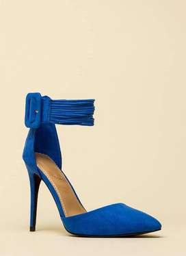 Strappy Pointed Blue Heels