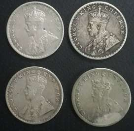sell one rupees 4 antiqe silver coins years of