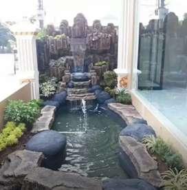 Relief tebing air mancur / minimalis kolam dan tanan