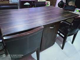 Heavy Toughen Wood Dining Table with 4 Chairs