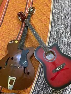 Yamaha havana guitar and one fender guitar