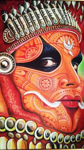 Theyyam face painting.  Acrylic on canvas