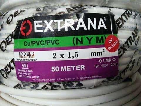 Kabel Extrana NYM 2x1.5 asli tembaga