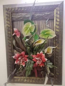 3D Painting Floral With Wooden Frame