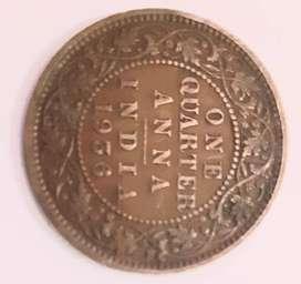 Antique Quater Anna Coin 1936 25000