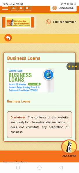 Business loans in syndicate bank