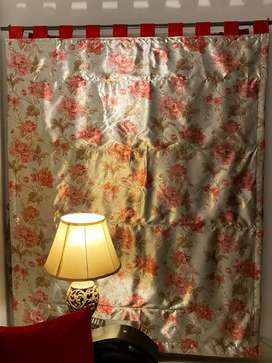 Red floral silk blinds (2) and. Cushions 9