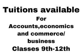 Tuition available for commerce subjects 9-12th