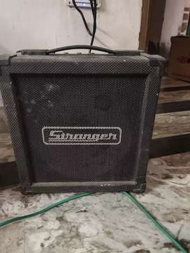 electronic guitar with stand . leather cover And stranger cube
