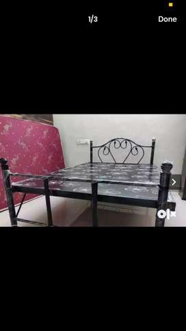Folding queen size metal bed
