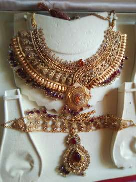 Gold Plated Necklace alongwith Matha Pati.
