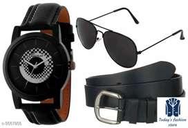 Combo Gorgeous Trendy Men's Watches & Belt & Sunglass