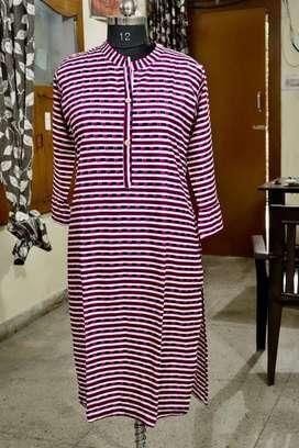 Jaipuri print kurti reyon cotten