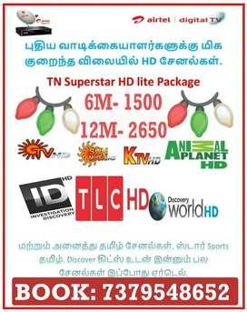 Airtel Digital TV TAMIL Lowest PRICES 6 MONTH HD FREE TataSky Dish Sun