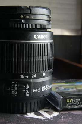 Canon EF-S 18-55mm Lens with Polaroid UV Filter.