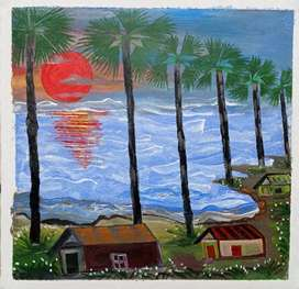Sunset Painting on canvas | wall painting for decoration