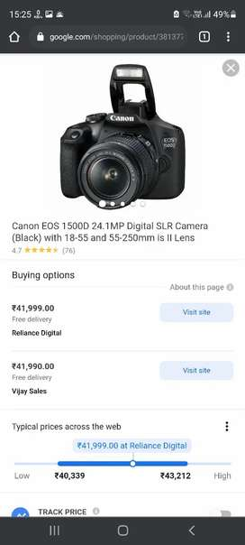 Cannon EOS 1500D with 18-55 / 250 mm lens full kit