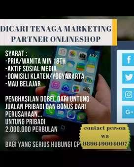 Partner online shop-tenaga marketing-part time-full time