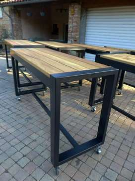 meja besi kombinasi kayu