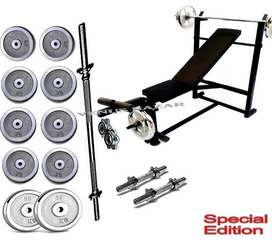 7 in 1 38kg Weight Bench Press Weight Plates 4ft rod 2 Dumbbel Rod