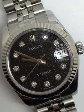 Rolex boysize SS Datejust Black computer Diamonds