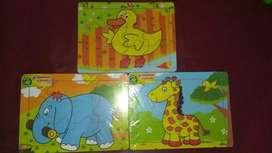 Mainan anak edukasi puzzle hewan isi 3