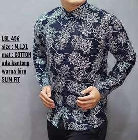 Kemeja semi batik warna hitam semi dongker daun alang2 putih  LBL456