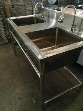 Meja Sink Tempat Cuci Piring Bahan Stainless Steel Tahan Karat