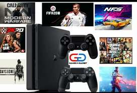 PS4 slim 2 controler 1 year warranty 20 games free