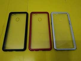 Case Oppo F7 Case Magnetic Tempered Glass Back dan Metal Frame Premium