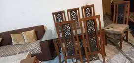Dining Table 6 Chairs With Double MirrorPure Shesham (Talli )
