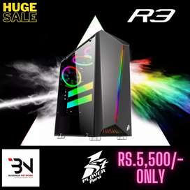 Gaming Case with RGB Strip Tempered Glass & Best Cooling Support