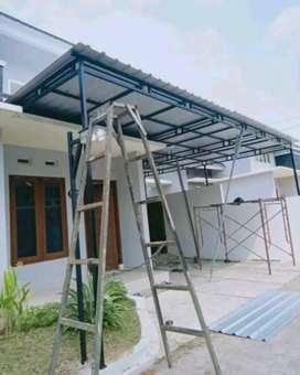 kanopi minimalis atap galvalum,rangka galvanis,besi,staenliss,pagar,..