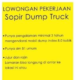 Lowongan pekerjaan sopir dump truck index 8 kubik (via Whatsapp)