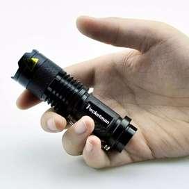 Senter LED 2000 Lumens Waterproof + Charger + Box Pocketman P1