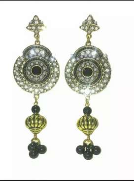 Pure Brite Gold Black Long Earrings with Small Real Zircon Stones