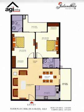 2 BHK, 1330 SQ.FT READY TO MOVE APARTMENTS AT 66 FEET ROAD