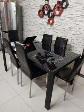 Sofa and center table with glass top dining table