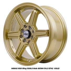 JUAL VELG HSR WHEEL: MINAS HSR R15X65 H8X100-114,3 ET42 GOLD
