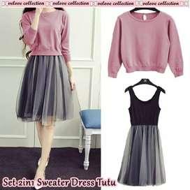Baju Y6 - Dress set sweater 3warna