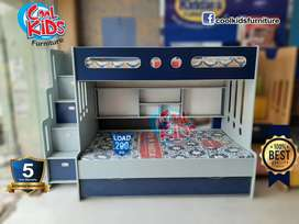 Navy blue bunk bed/ New design triple bunk bed/Cool kids furniture