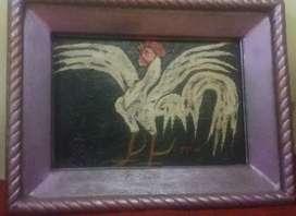 Lukisan Ayam Jago Putih Karya Popo Iskandar