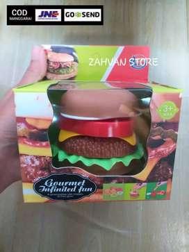 Mainan susun burger