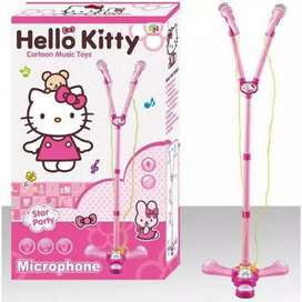 Mainan Karaoke microphone Motif hello Kitty Double mic