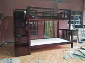 Ranjang tidur anak tangga laci kayu jati